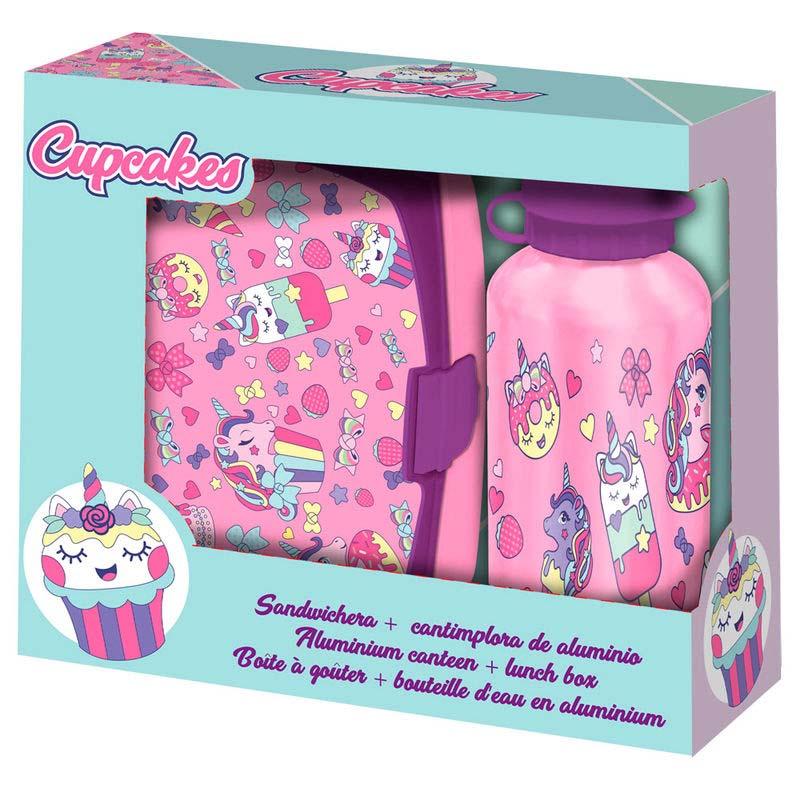 Pack Cantimplora Aluminio + Sandwichera Cupcakes