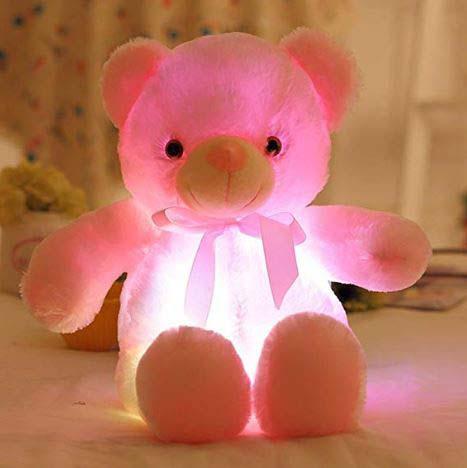 Peluche Oso Rosa Con Luz Led