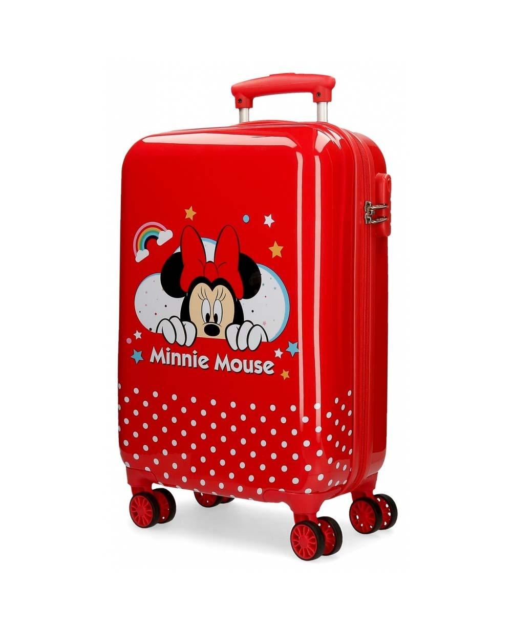 Maleta De Viaje Minnie Mouse Lunares Pequeños Roja