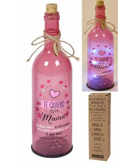 Botella Led De Cristal Te Quiero Mama. Rosa