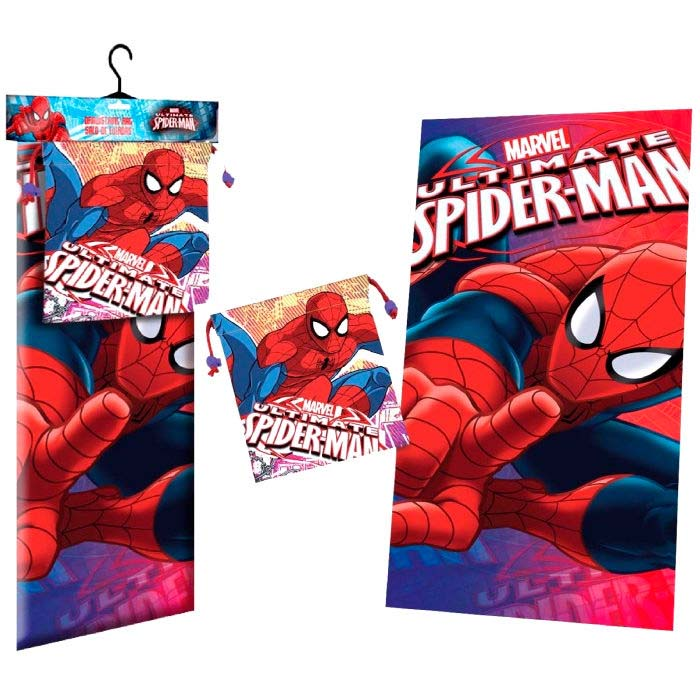 Toalla Microfibra + Saco Merienda Spiderman Marvel Face