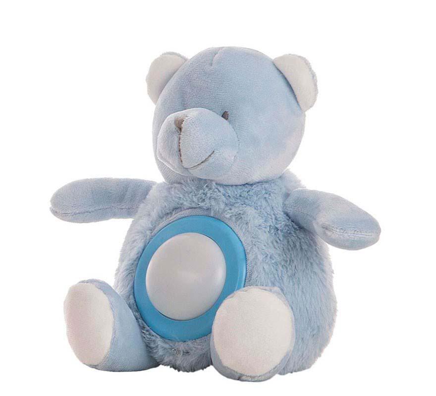Oso Azul Musical Con Luz 20 Cm