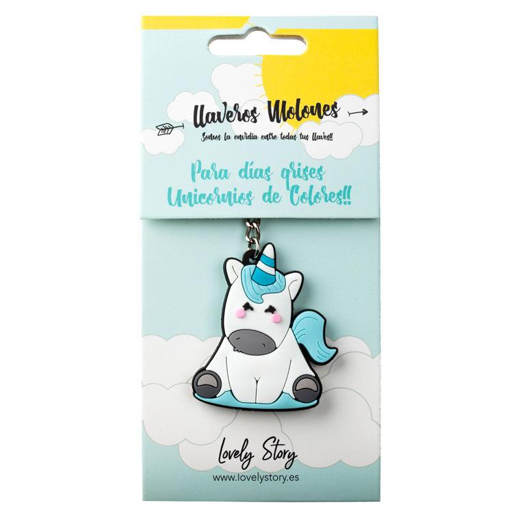Llavero rubber Unicornio azul
