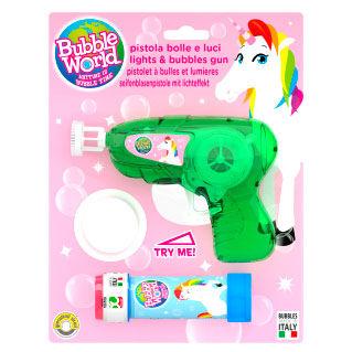 Pistola burbujas + pompero luz y sonido Unicornio