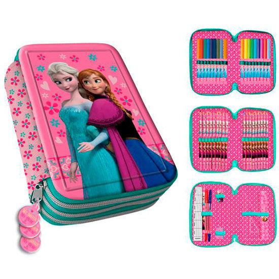 Plumier 3D Frozen Disney Anna Elsa metalico triple