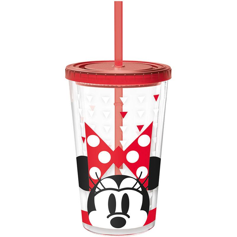 Vaso Minnie Disney doble pared pajita