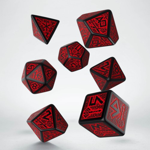 Qw Dados Dwarven Black & Red Dice Set (7)